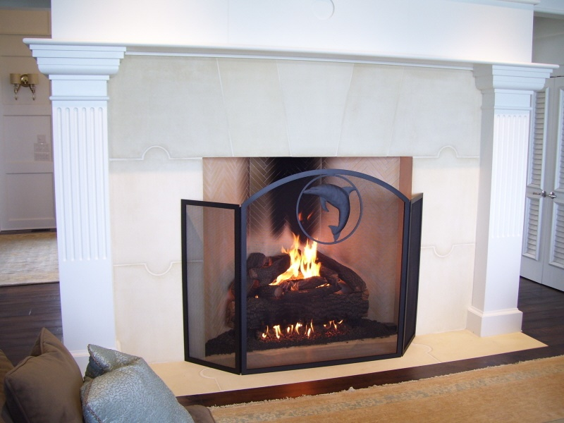 Living Room Fireplace With Custom Screen And Massive Gas Logs