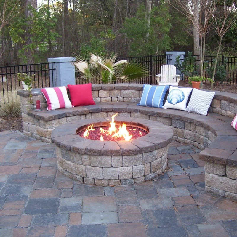Custom gas burning firepit with glass coastroad online for Built in fire pits designs